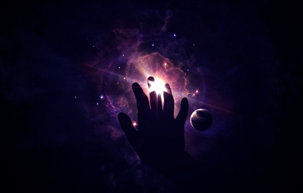 Picture light, stars, cosmos, hand