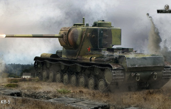Picture field, forest, explosions, shot, battle, tank, heavy, Soviet, World of Tanks, KV-5, trench