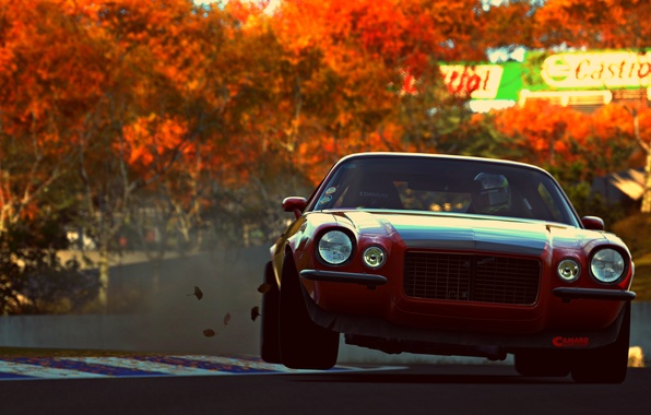 Picture car, sport, red, game, muscle car, vehicle, Gran Turismo 6, pozzi motorsports camaro rs
