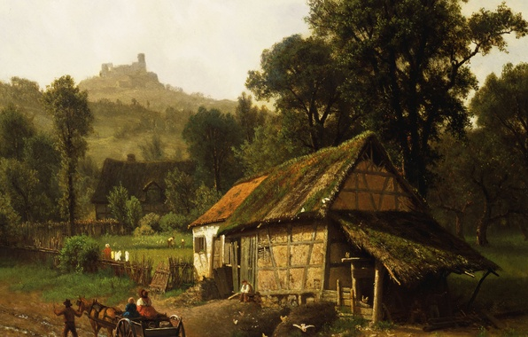 Picture landscape, house, picture, wagon, Albert Bierstadt, In The Foothills