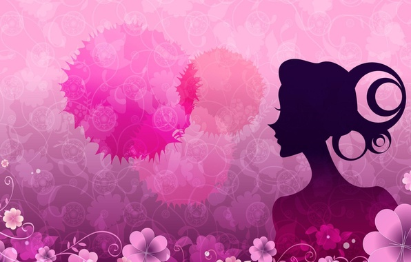 Picture girl, flowers, background, pink, pattern, figure
