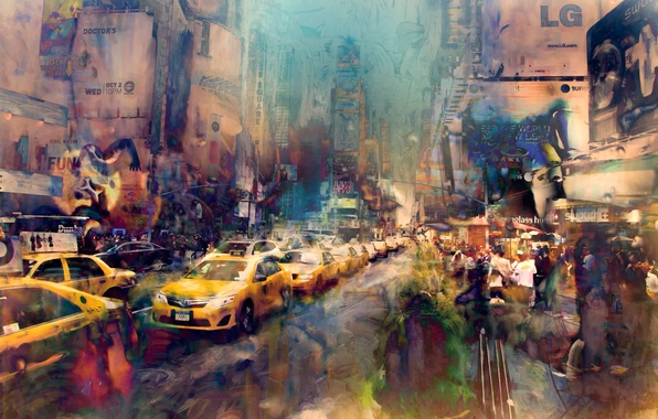 Picture street, paint, art, New York City, strokes, Times Square