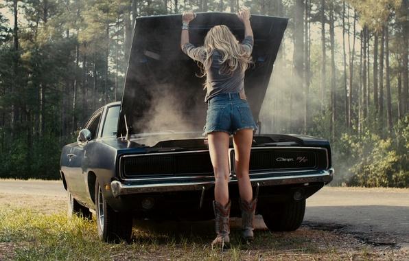 Picture machine, auto, ass, ass, hair, shorts, Girl, blonde, legs, Amber Heard, drive angry, Ember Heard