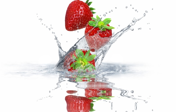 Picture water, squirt, berries, strawberry, fresh, water, splash, drops, strawberry
