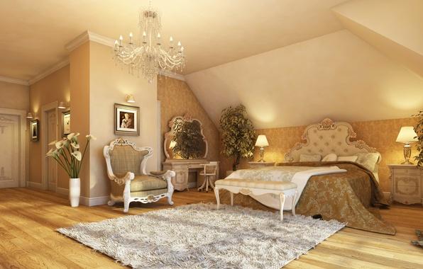 Picture light, lamp, room, interior, chair, mirror, flooring, chandelier, pictures, Mat, bedroom. bed