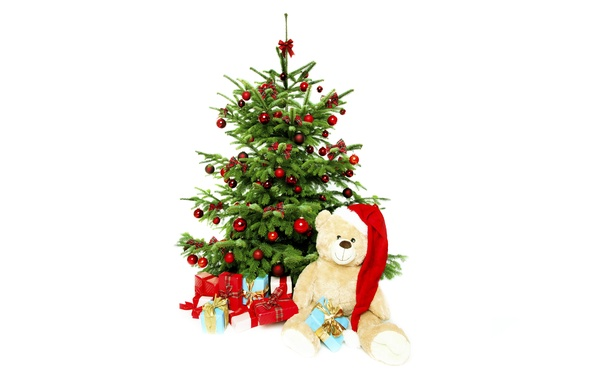 Picture holiday, balls, hat, toys, tree, bear, gifts, red, white background, New year, bows, plush