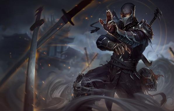 Picture smoke, figure, sword, leather, mask, art, helmet, sword, armor, ninja, armor, smoke, art, blade, leather, …