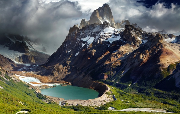 Picture mountains, lake, panorama, gorge, Argentina, Patagonia