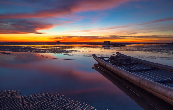 Picture sand, the sky, clouds, sunset, Strait, shore, boat, the evening, China, Taiwan, China