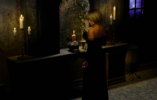 Picture girl, flowers, night, Gothic, skull, stars, candles, window, girl, Night, stars, candle