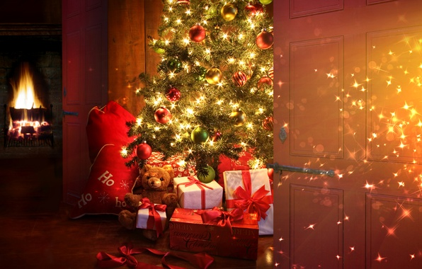 Picture balls, decoration, lights, style, room, holiday, toys, Christmas, interior, gifts, New year, tree, fireplace, curtains, …