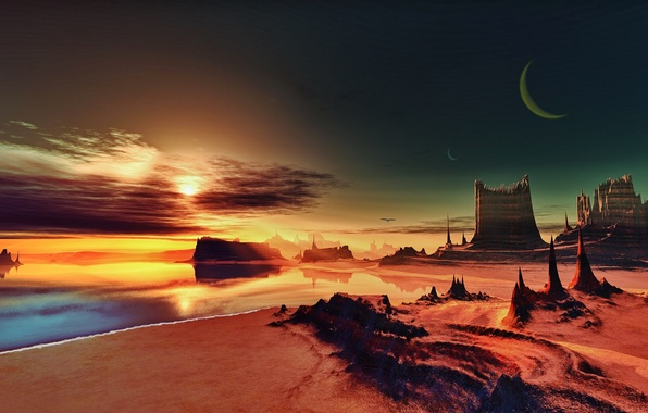 Picture sand, sea, the sky, space, landscape, rendering, rocks, shore, The moon, space, Moon, sky, sea, …