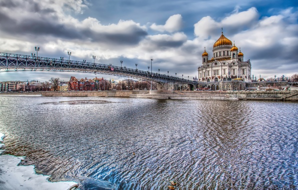 Picture river, HDR, Moscow, Russia, The Cathedral Of Christ The Savior