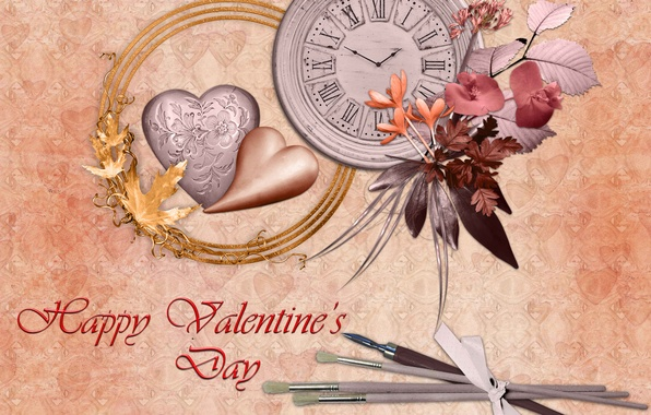 Picture leaves, love, flowers, heart, watch, lovers, the volume, postcard, Valentin