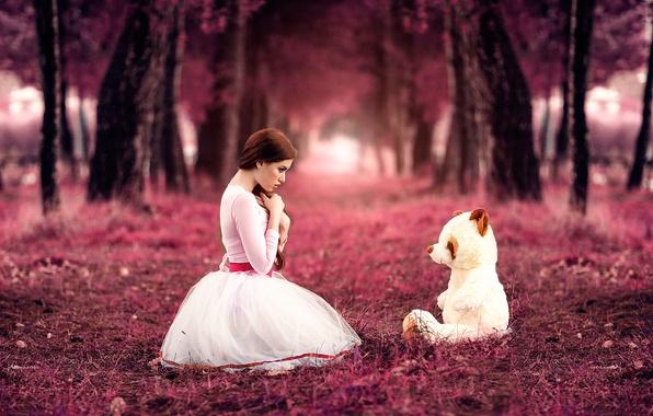 Wallpaper girl, bear, Alessandro Di Cicco, Sweet little girl