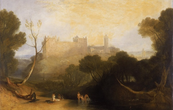 Picture trees, landscape, river, castle, mountain, picture, Scotland, William Turner, Linlithgow Palace