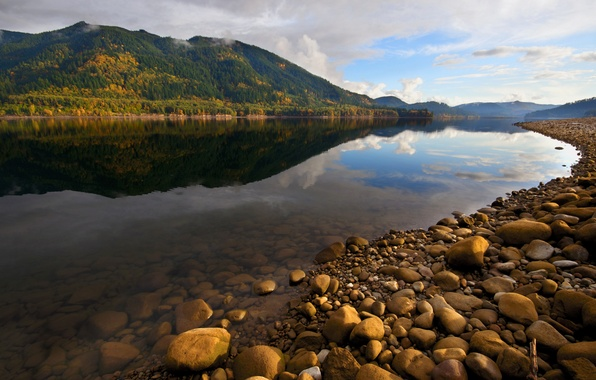 Picture autumn, the sky, water, transparency, clouds, reflection, river, stones, mountain