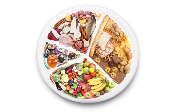 Picture apples, sausage, chocolate, fish, oranges, cheese, kiwi, milk, bow, strawberry, plate, bread, eggplant, bananas, meat, …