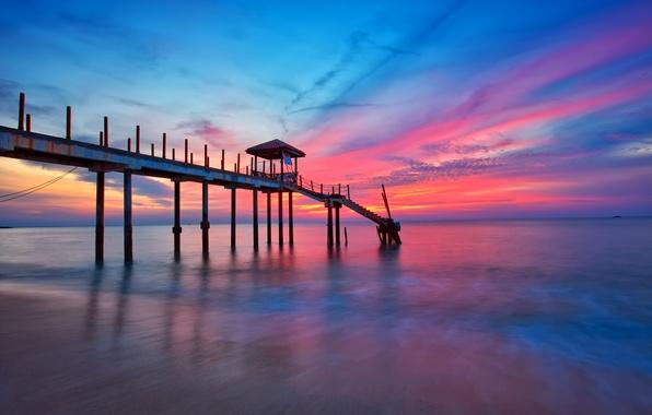 Picture sea, the sky, clouds, sunset, pier, pierce, glow