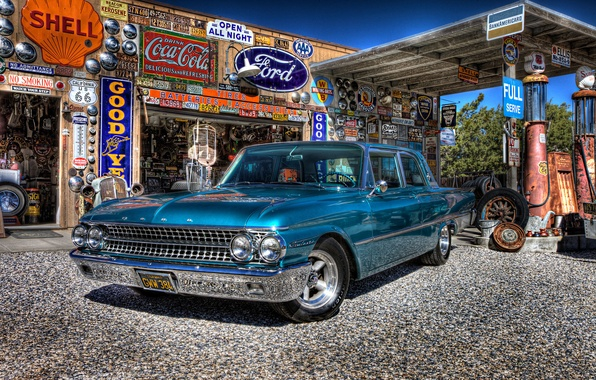 Wallpaper Retro Ford Dressing Galaxie Car Classic Gas Station Service 1961 Images For