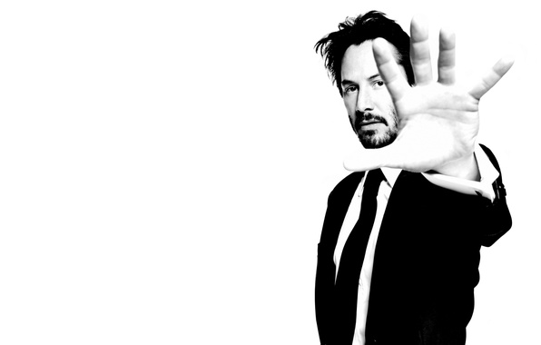 Picture hand, b/W, male, actor, Keanu Reeves, black and white, Keanu Reeves