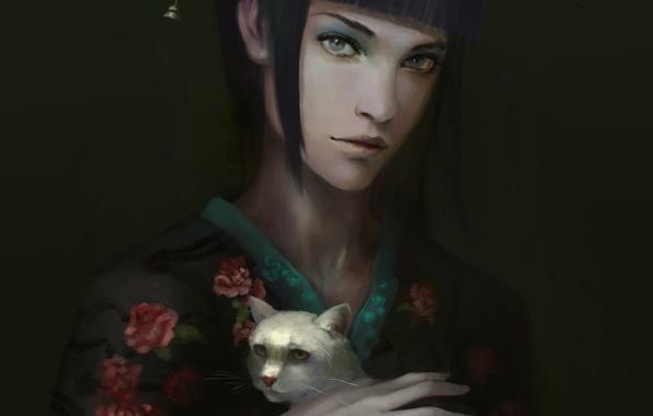 Picture cat, girl, background, hand, white, kimono, gloomy
