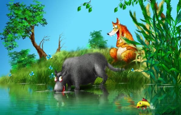 Picture forest, wolf, Fox, Skazka