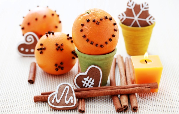 Picture oranges, candles, New Year, cookies, Christmas, cinnamon, carnation, holidays, Christmas