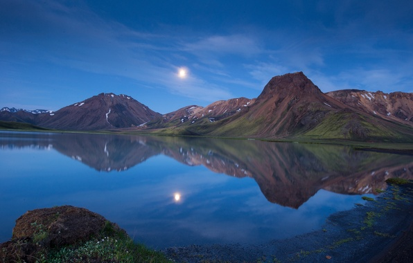 Picture mountains, lake, reflection, the moon, the evening, twilight, Iceland