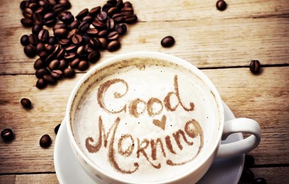 Picture the inscription, cappuccino, foam, coffee heart