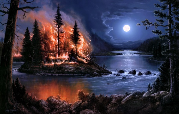 Picture forest, trees, night, river, fire, fire, the moon, island, art, Jesse Barnes