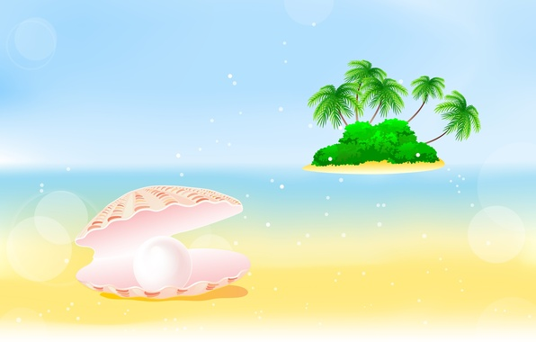 Picture sea, palm trees, island, shell, the bushes, pearl, bushes, palm trees, pearl, shell, sea island