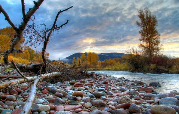 Picture autumn, the sky, clouds, trees, mountains, river, stones