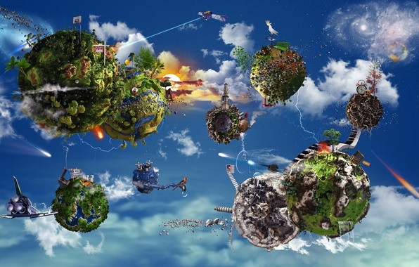 Picture BACKGROUND, WATER, The SKY, CLOUDS, GREENS, WEAPONS, SHIPS, PLANET, MUSIC, STARS, SHUTTLE, TREES, HOME, VEGETATION, …