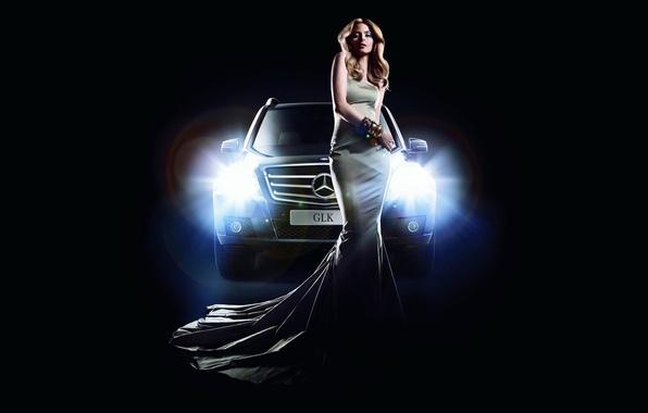 Picture machine, girl, light, lights, Mercedes, Mercedes, GLK