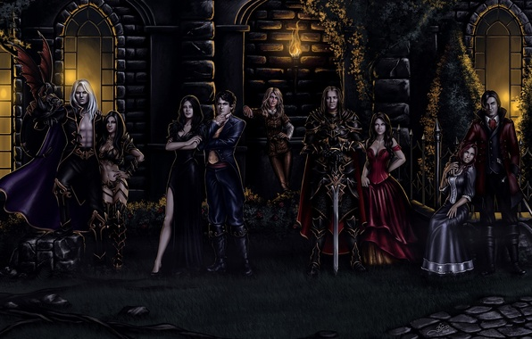 Picture women, night, castle, sword, mystic, art, torch, vampire, knight, men, costumes