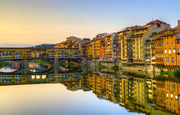 Picture bridge, reflection, building, Italy, Florence, Italy, Florence, Old Bridge, Vasari Corridor, Arno River, the Arno …