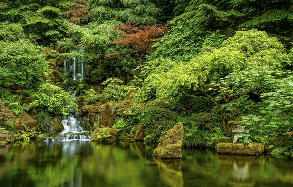Picture trees, lake, stones, waterfall, Oregon, Portland, cascade, Oregon, Portland, Japanese Gardens, Japanese gardens