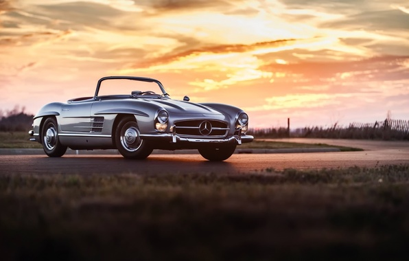 Picture car, classic, retro, mercedes 300sl