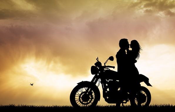 Picture summer, mood, romance, the evening, blur, silhouette, motorcycle, bike, bokeh, wallpaper., beautiful background, beautiful background, ...