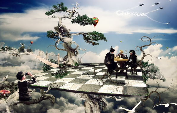 Picture trees, fiction, boy, chess, cells, Board