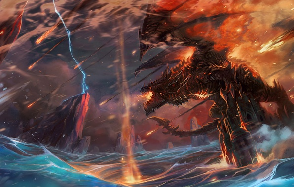 Picture wave, castle, fire, lightning, dragon, people, art, world of warcraft, jian guo