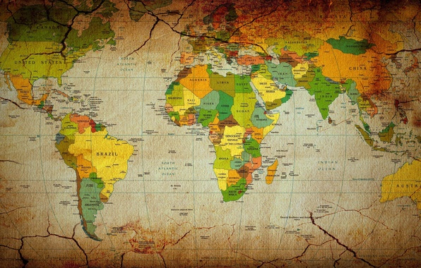 Picture map, continents, map