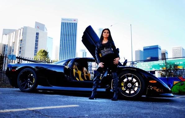 Picture the sky, girl, black, building, brunette, profile, girl, black, brunet, Mosler, Mosler, RaptorGTR, Raptor GTR, …