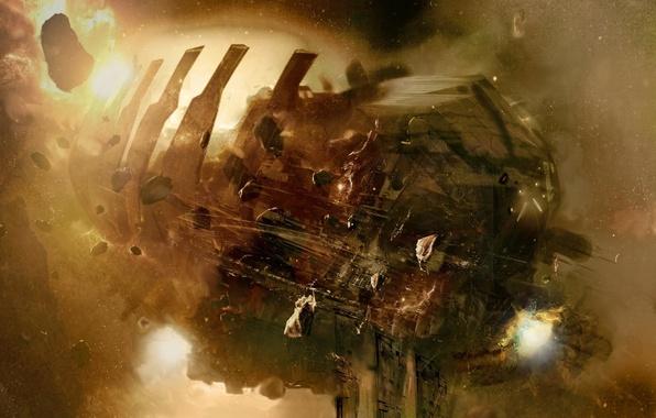 Picture space, light, ship, asteroids, clash, dead space, USG, Ishimura