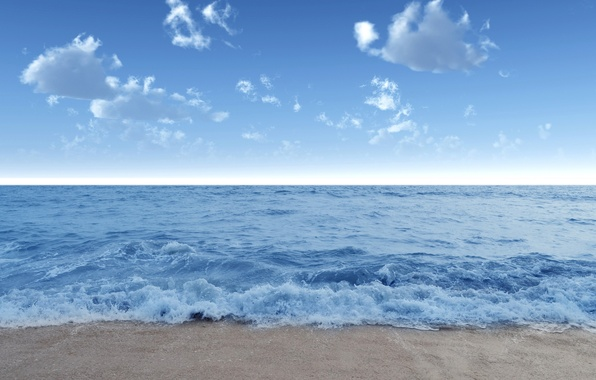 Picture sand, sea, wave, beach, summer, the sky, water, clouds, landscape, nature, blue, shore, wave