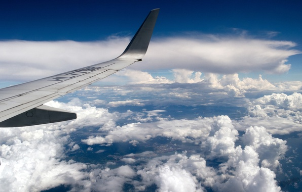 Picture the sky, clouds, flight, the plane, wing, sky, aircraft, flight, clouds, airplane, aircraft, wing, wallpaper.