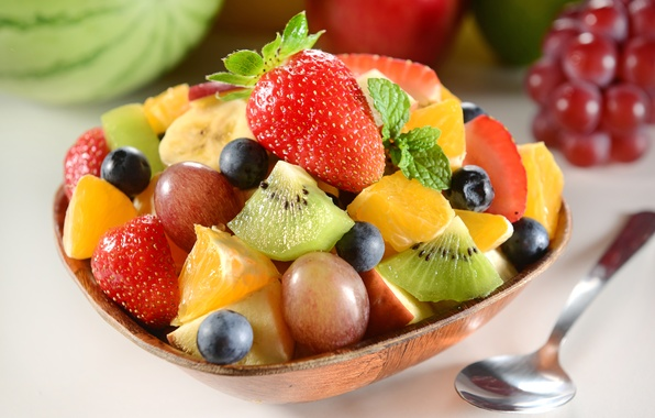 Picture berries, kiwi, blueberries, strawberry, grapes, dessert, grape, strawberry, dessert, berries, kiwi, fruit salad, mint leaves, …