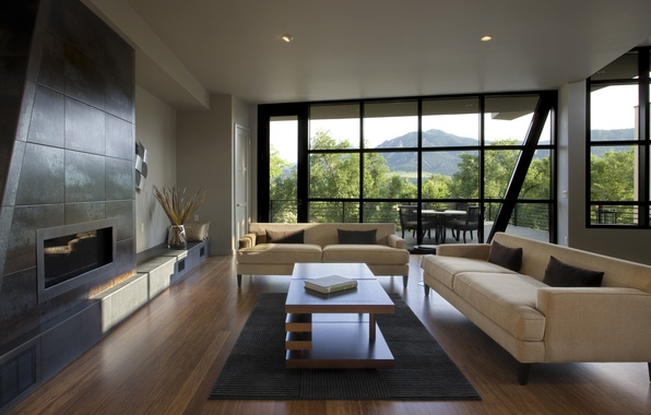 Picture design, style, room, interior, fireplace, terrace