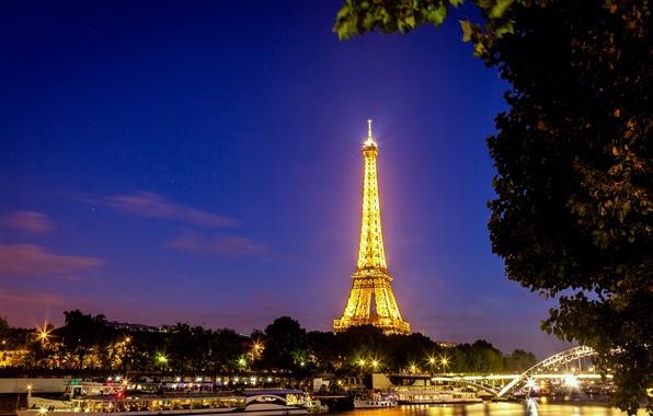 Picture light, trees, night, bridge, the city, lights, river, France, Paris, lighting, Hay, Eiffel tower, Paris, …